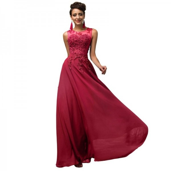 Buy Elegant Female Formals Long A Line Vestido Chiffon Sleeveless ...