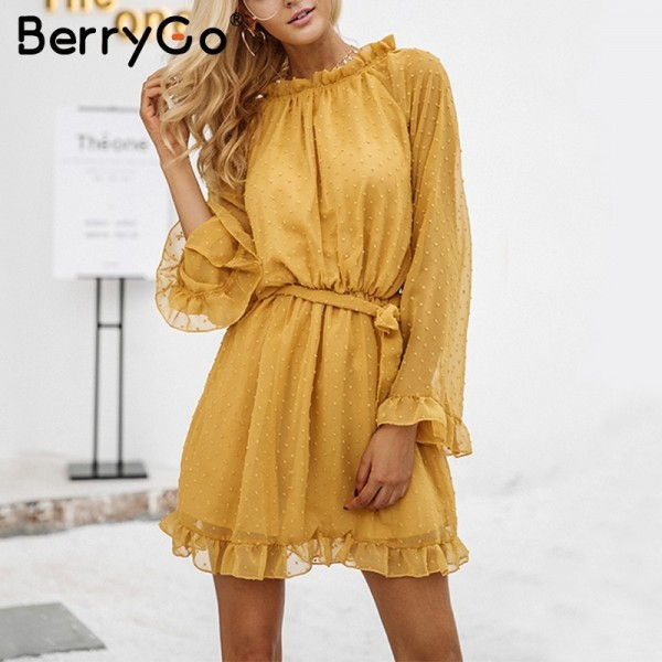 Elegant lace up backless mesh dress women Fashion stringy selvedge sash mini dress Long flare sleeve dresses vestidos