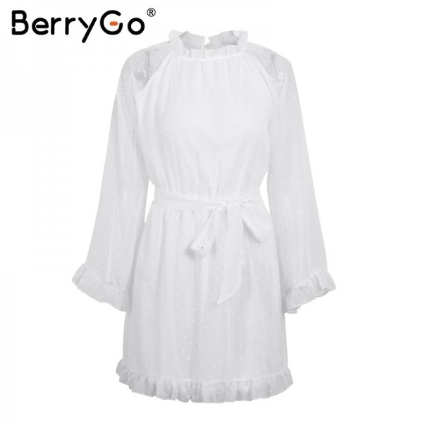 Elegant lace up backless mesh dress women Fashion stringy selvedge sash mini dress Long flare sleeve dresses vestidos Extra Image 4