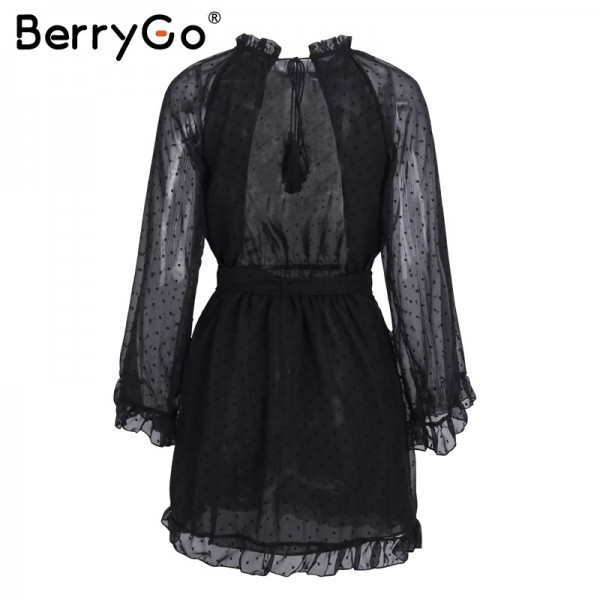 Elegant lace up backless mesh dress women Fashion stringy selvedge sash mini dress Long flare sleeve dresses vestidos Extra Image 5