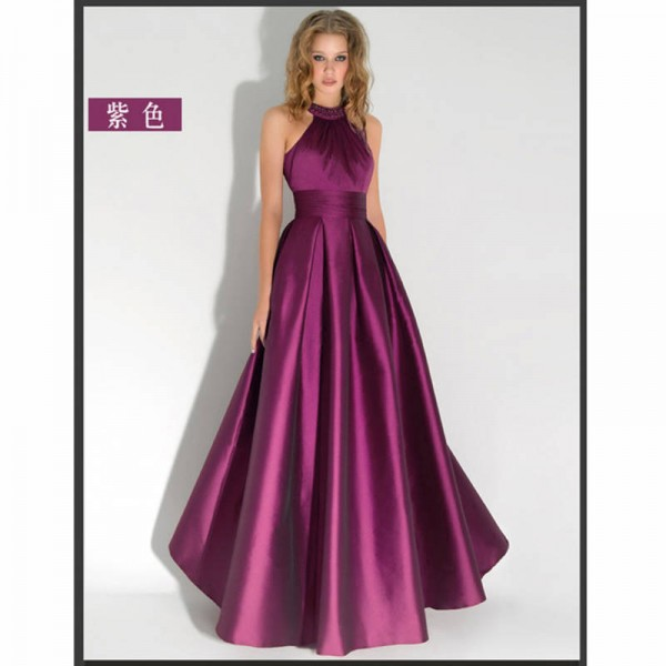 Elegant Long Evening Halter Pleated Formal Dresses Backless Party ...