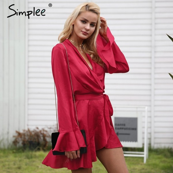 Elegant Red Dress v neck satin dress robe femme Irregularity ruffle sleeve autumn dress party Vintage winter dress Extra Image 2