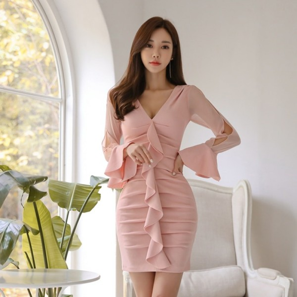 Elegant Ruffles Sheath Bodycon Women Mini Dress Flare Sleeve Ruched Hip Package Female Short Dress vestidos 2019