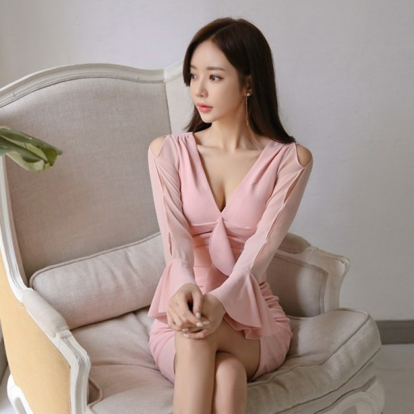Elegant Ruffles Sheath Bodycon Women Mini Dress Flare Sleeve Ruched Hip Package Female Short Dress vestidos 2019 Extra Image 2