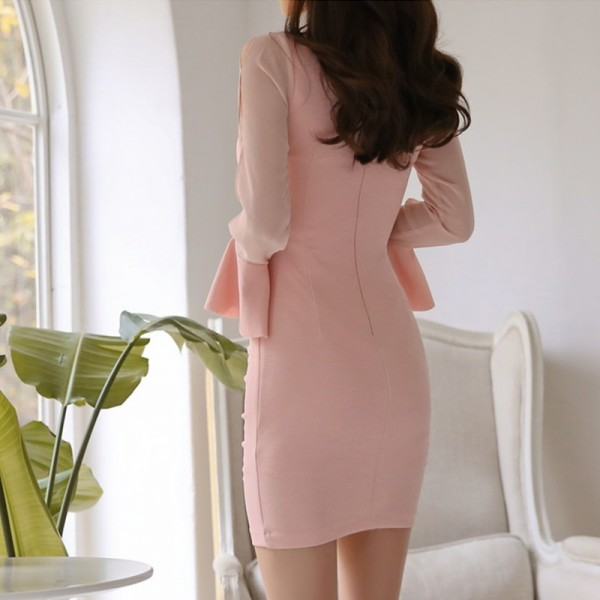 Elegant Ruffles Sheath Bodycon Women Mini Dress Flare Sleeve Ruched Hip Package Female Short Dress vestidos 2019 Extra Image 4