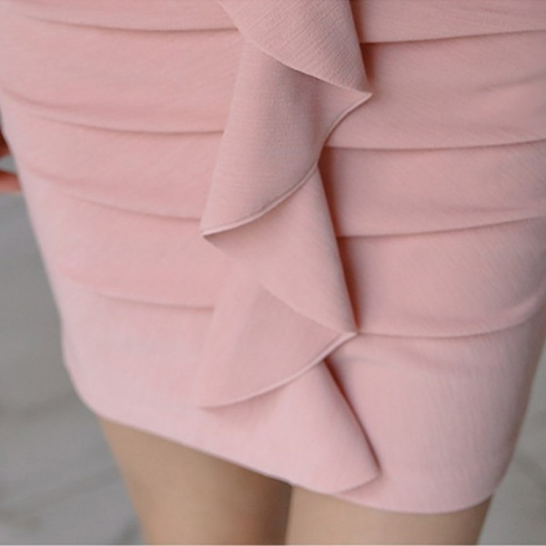 Elegant Ruffles Sheath Bodycon Women Mini Dress Flare Sleeve Ruched Hip Package Female Short Dress vestidos 2019 Extra Image 6