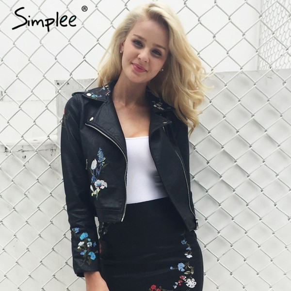 Embroidery faux leather coat Motorcycle zipper wine red leather jacket women Fashion cool outerwear winter jacket Extra Image 1