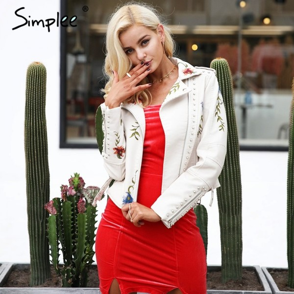 Embroidery Jacket floral faux leather jacket White basic jackets outerwear coats Women casual autumn winter female coat