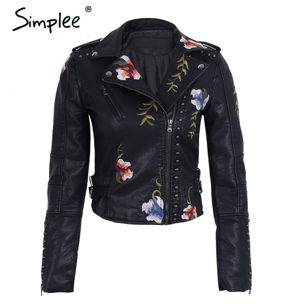 Embroidery Jacket floral faux leather jacket White basic jackets outerwear coats Women casual autumn winter female coat Extra Image 4