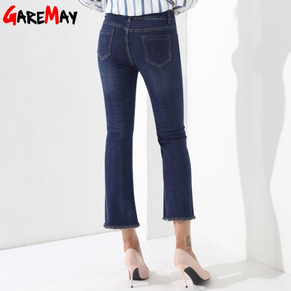 Embroidery Jeans Female Denim Pants Embroidered Flared Jeans For Women Flower Bell Bottom Tassel Trousers Extra Image 3