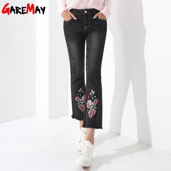 Embroidery Jeans Female Denim Pants Embroidered Flared Jeans For Women Flower Bell Bottom Tassel Trousers Extra Image 4