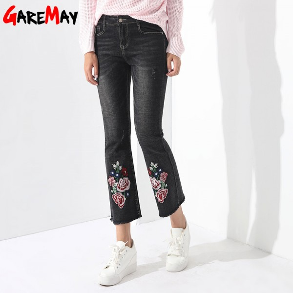 Embroidery Jeans Female Denim Pants Embroidered Flared Jeans For Women Flower Bell Bottom Tassel Trousers Extra Image 5