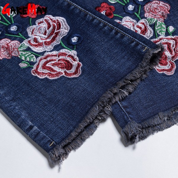 Embroidery Jeans Female Denim Pants Embroidered Flared Jeans For Women Flower Bell Bottom Tassel Trousers Extra Image 6