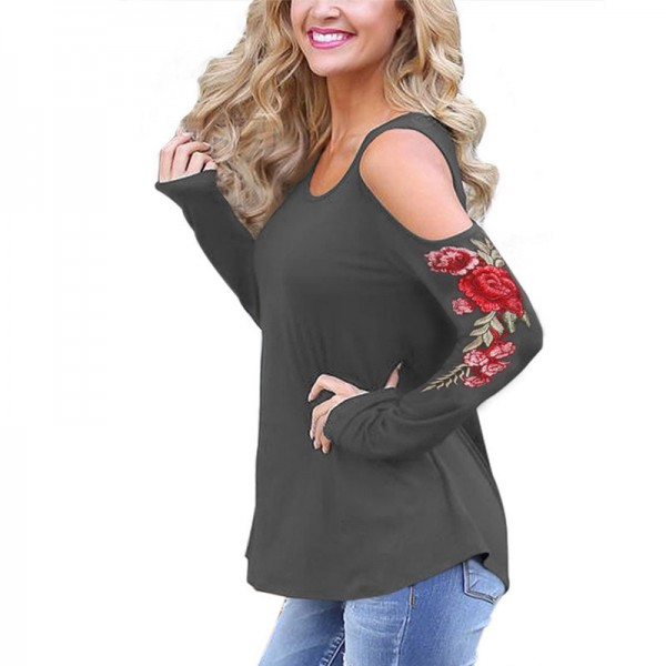 Embroidery Red Flower Floral T Shirt Women Off the Shoulder Tops Autumn Sexy Fashion Casual T Shirt Female Cotton