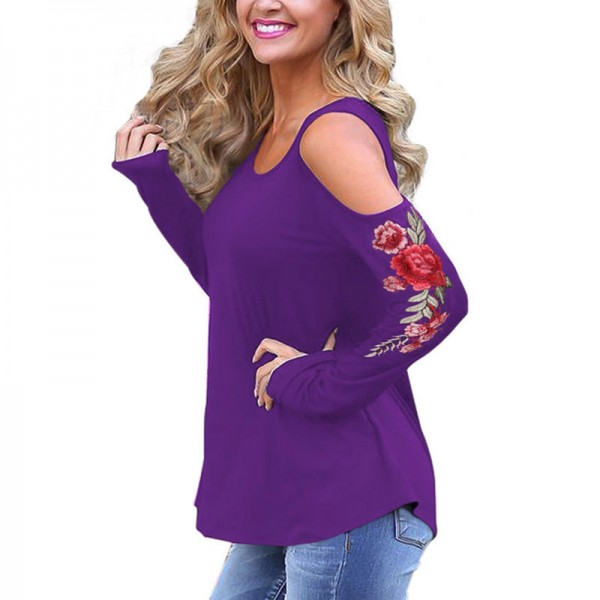 Embroidery Red Flower Floral T Shirt Women Off the Shoulder Tops Autumn Sexy Fashion Casual T Shirt Female Cotton Extra Image 4