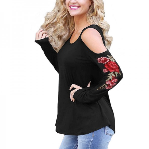 Embroidery Red Flower Floral T Shirt Women Off the Shoulder Tops Autumn Sexy Fashion Casual T Shirt Female Cotton Extra Image 5