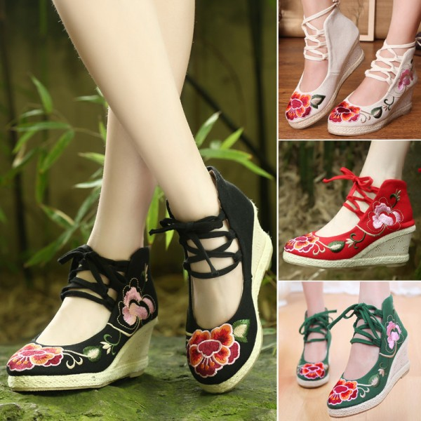 Embroidery Soft Sole Sandals For Women Chinese Style New Fashion Casual Shoes For Females Extra Image 4