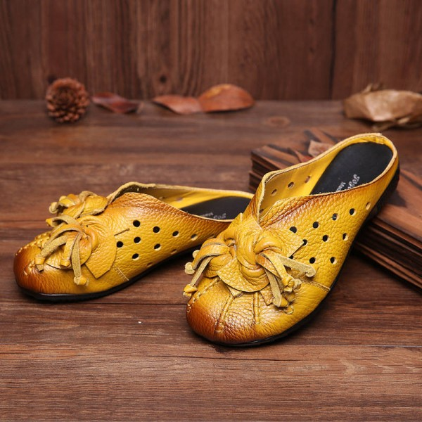 Ethnic Style Genuine Leather Handmade Flower Slides Vintage Hollow Out Shoes Women Thumbnail