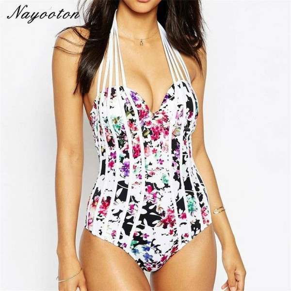 Europe America Conservative Swimwear Multi Brand Sexy Halter One Piece Swimsuits Sexy Summer Bathing Suits Extra Image 0