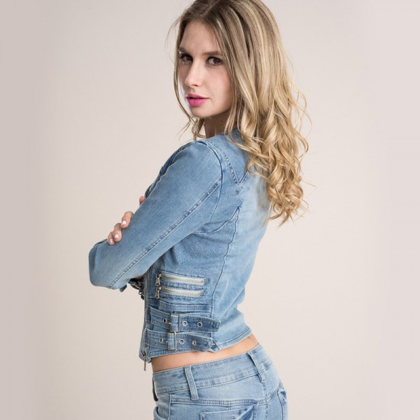 European Fashion Denim Jackets Hot Sexy Spring Autumn Women Denim Light Blue Zippers Coat Motorcycle Outerwear Extra Image 2