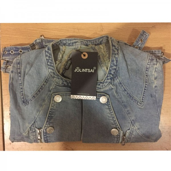 European Fashion Denim Jackets Hot Sexy Spring Autumn Women Denim Light Blue Zippers Coat Motorcycle Outerwear Extra Image 6