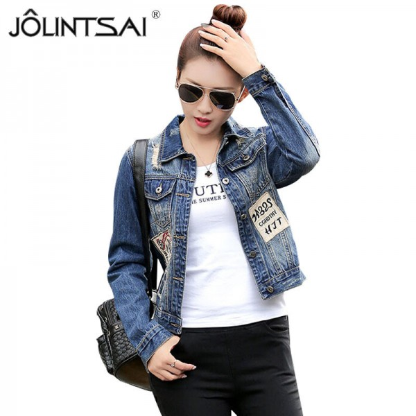 European Fashion New Autumn Denim Jacket Women Patch Designs Long Sleeve Casual Slim Jeans Jackets Streetwear Casacos Extra Image 1