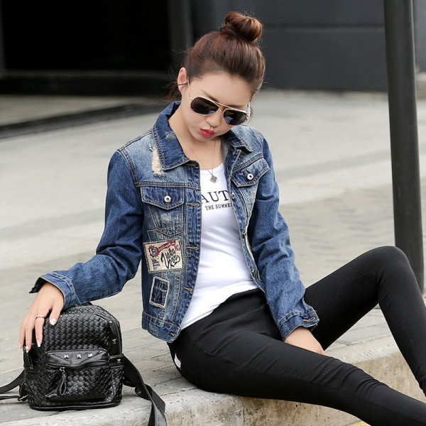 European Fashion New Autumn Denim Jacket Women Patch Designs Long Sleeve Casual Slim Jeans Jackets Streetwear Casacos Extra Image 2