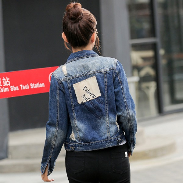 European Fashion New Autumn Denim Jacket Women Patch Designs Long Sleeve Casual Slim Jeans Jackets Streetwear Casacos Extra Image 3