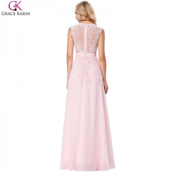 Evening Dress Pink Chiffon Elegant Formal Gowns Lace Applique See Through Special Occasion Dresses For Wedding Party Extra Image 2