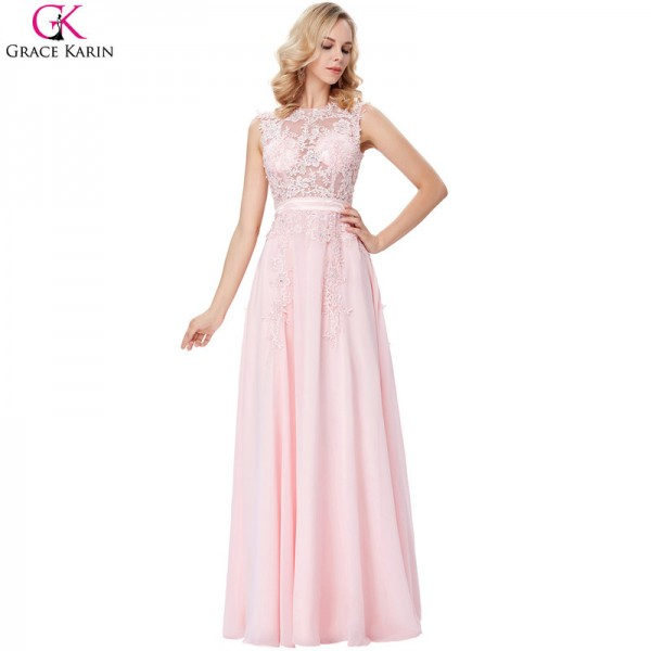 Buy Evening Dress Pink Chiffon Elegant Formal Gowns Lace Applique ...