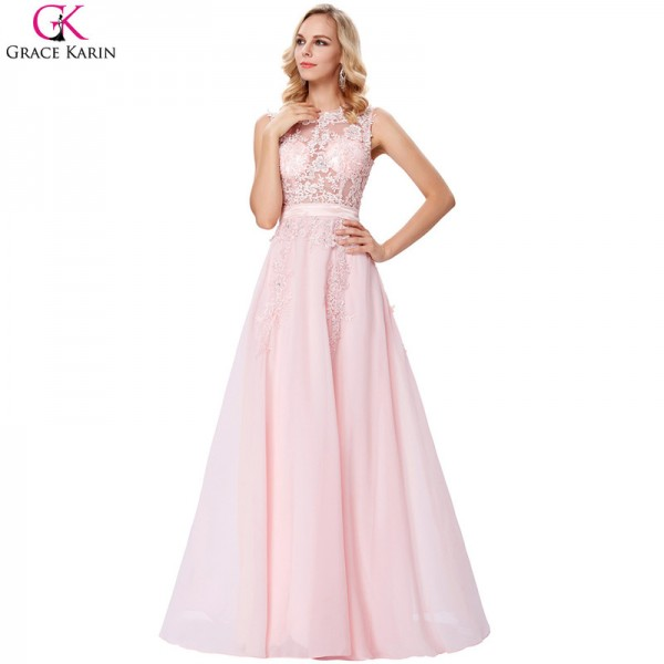 Evening Dress Pink Chiffon Elegant Formal Gowns Lace Applique See Through Special Occasion Dresses For Wedding Party Extra Image 4