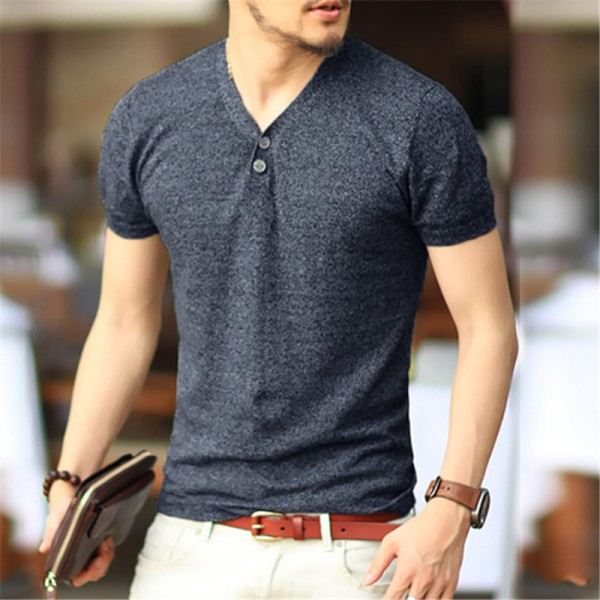 Excellent Quality Lycra Cotton T Shirts For Men Designer Basic Casual Outfits V Neck Tight Fit Tees For Males