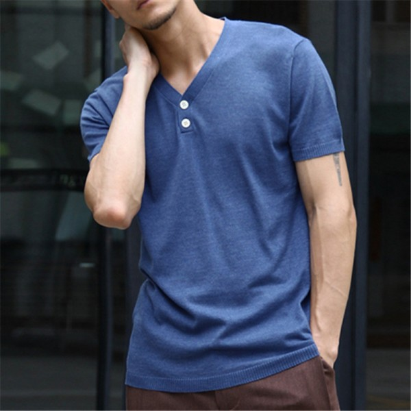 Excellent Quality Lycra Cotton T Shirts For Men Designer Basic Casual Outfits V Neck Tight Fit Tees For Males Extra Image 3