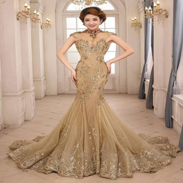 Exquisite Evening Dress Mermaid Gowns Luxury Gold High Neck Sheer ...