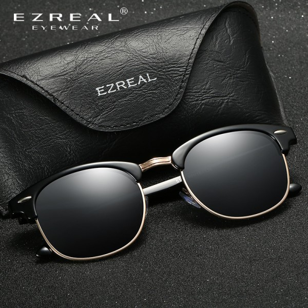 EZREAL Brand Classic Black Polarized Sunglasses Men Women Driving Sun Glasses For Man Shades Eyewear With Box Extra Image 4