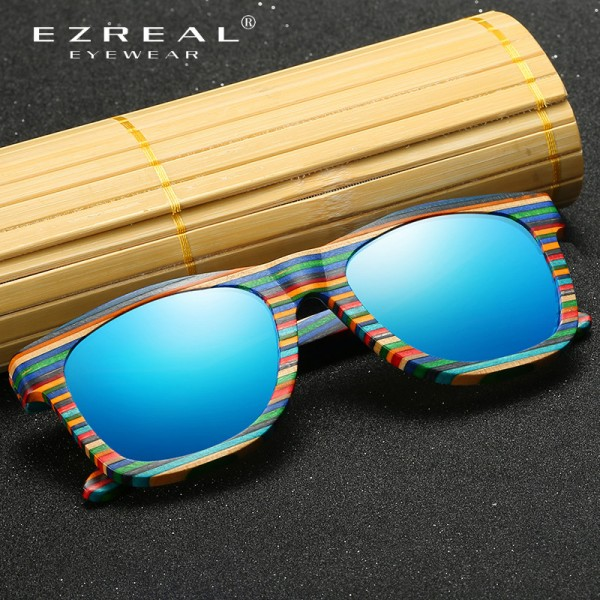 EZREAL Polarized Wooden Sunglasses Men Bamboo Sun Glasses Women Brand Designer Original Wood Glasses Oculos de sol Extra Image 2