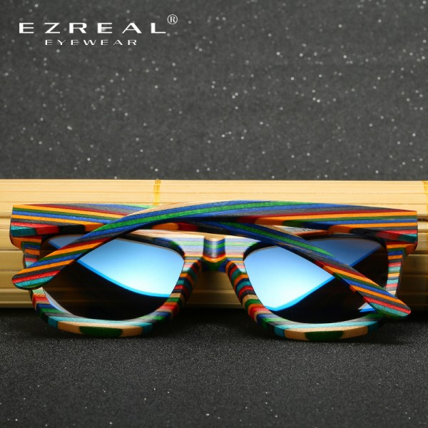 EZREAL Polarized Wooden Sunglasses Men Bamboo Sun Glasses Women Brand Designer Original Wood Glasses Oculos de sol Extra Image 4
