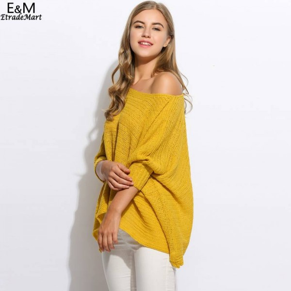 Fanala Women Sweater O Neck Batwing Casual Loose Solid Knitted Poncho Pullover Women Extra Images 3
