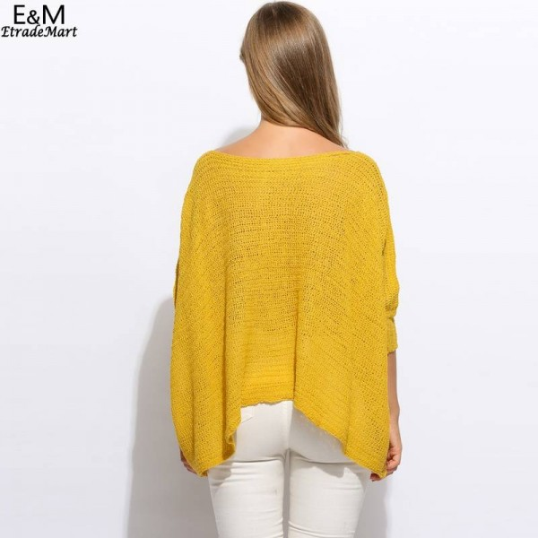 Fanala Women Sweater O Neck Batwing Casual Loose Solid Knitted Poncho Pullover Women Extra Images 4