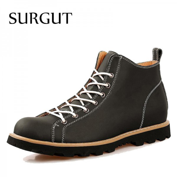 Fashion Autumn Cow Split Leather Waterproof Boots Cotton High Top Casual Shoes Mens Ankle Botas Stylish Boots