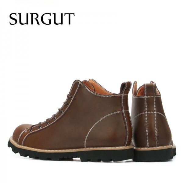 Fashion Autumn Cow Split Leather Waterproof Boots Cotton High Top Casual Shoes Mens Ankle Botas Stylish Boots Extra Image 2