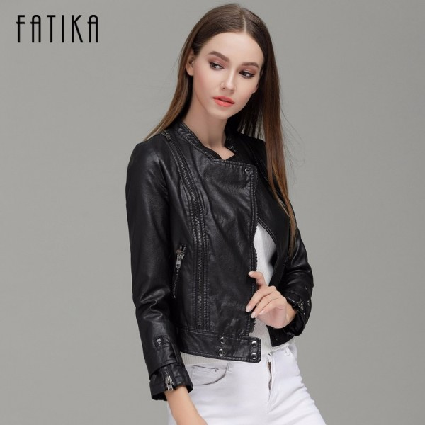 Fashion Autumn Winter Women Faux Leather Jackets Button Zippers Coat Female Flying Motorcycle Rivet Jacket Coats Extra Image 2