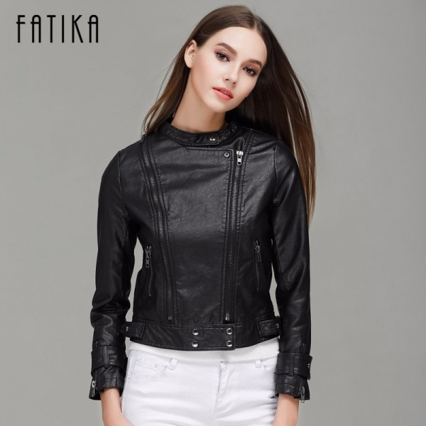 Fashion Autumn Winter Women Faux Leather Jackets Button Zippers Coat Female Flying Motorcycle Rivet Jacket Coats Extra Image 3