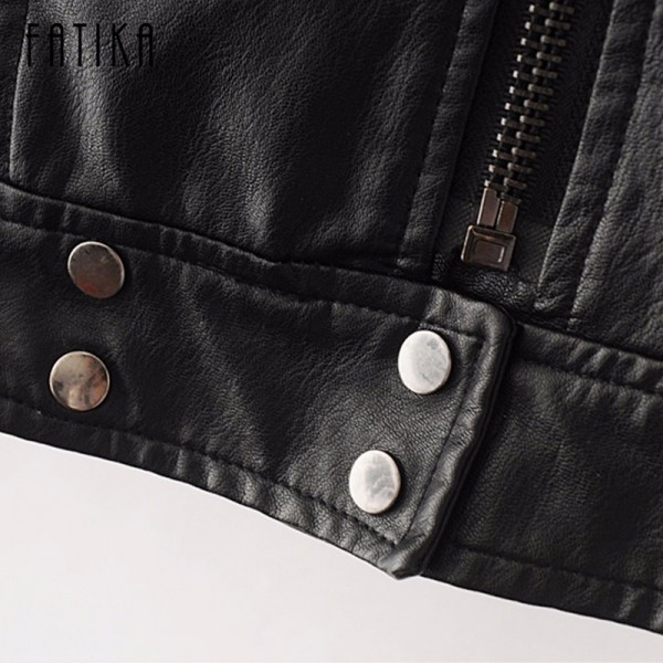 Fashion Autumn Winter Women Faux Leather Jackets Button Zippers Coat Female Flying Motorcycle Rivet Jacket Coats Extra Image 5