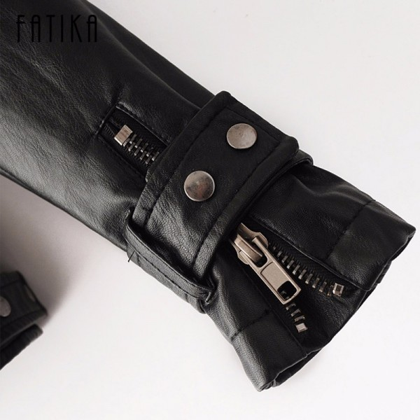 Fashion Autumn Winter Women Faux Leather Jackets Button Zippers Coat Female Flying Motorcycle Rivet Jacket Coats Extra Image 6