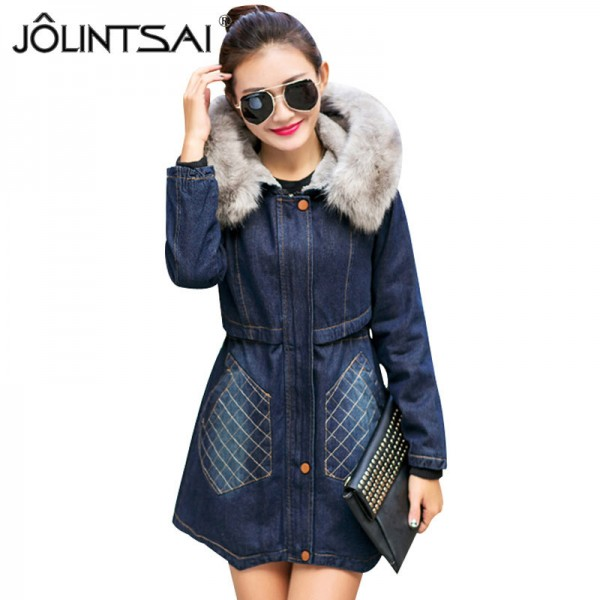 Fashion Casual Big Faux Fur Hooded Thick Warm Outwear New Winter Coat Denim Jackets Women Long Cotton Padded Jeans Extra Image 1