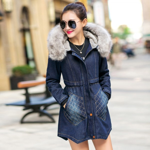 Fashion Casual Big Faux Fur Hooded Thick Warm Outwear New Winter Coat Denim Jackets Women Long Cotton Padded Jeans