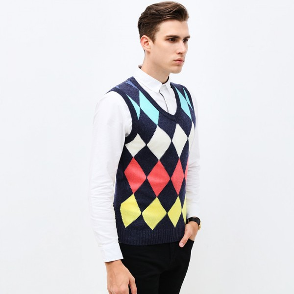 Fashion Diamond Pattern Knitted Vest Winter Mens Pullover Knitted Sweater Sleeveless Casual Mens Sweaters And Pullovers Extra Image 3