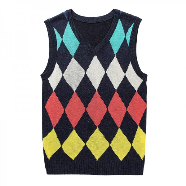 Fashion Diamond Pattern Knitted Vest Winter Mens Pullover Knitted Sweater Sleeveless Casual Mens Sweaters And Pullovers Extra Image 6