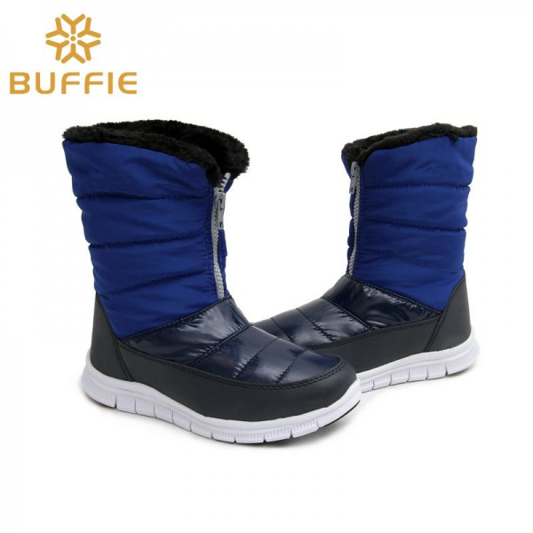 Fashion Ladies Boots Warm Autumn Winter Shoes Fur Lining Royal Blue Boots Female High Quality Shoes Extra Image 4